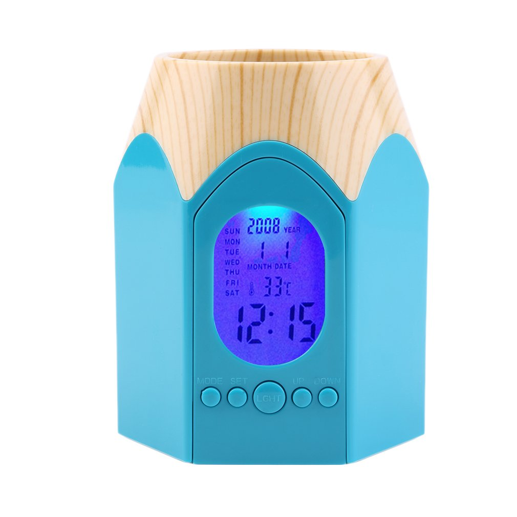 Perpetual Calendar Electronic Pen Pencil Holder Container with Alarm Clock