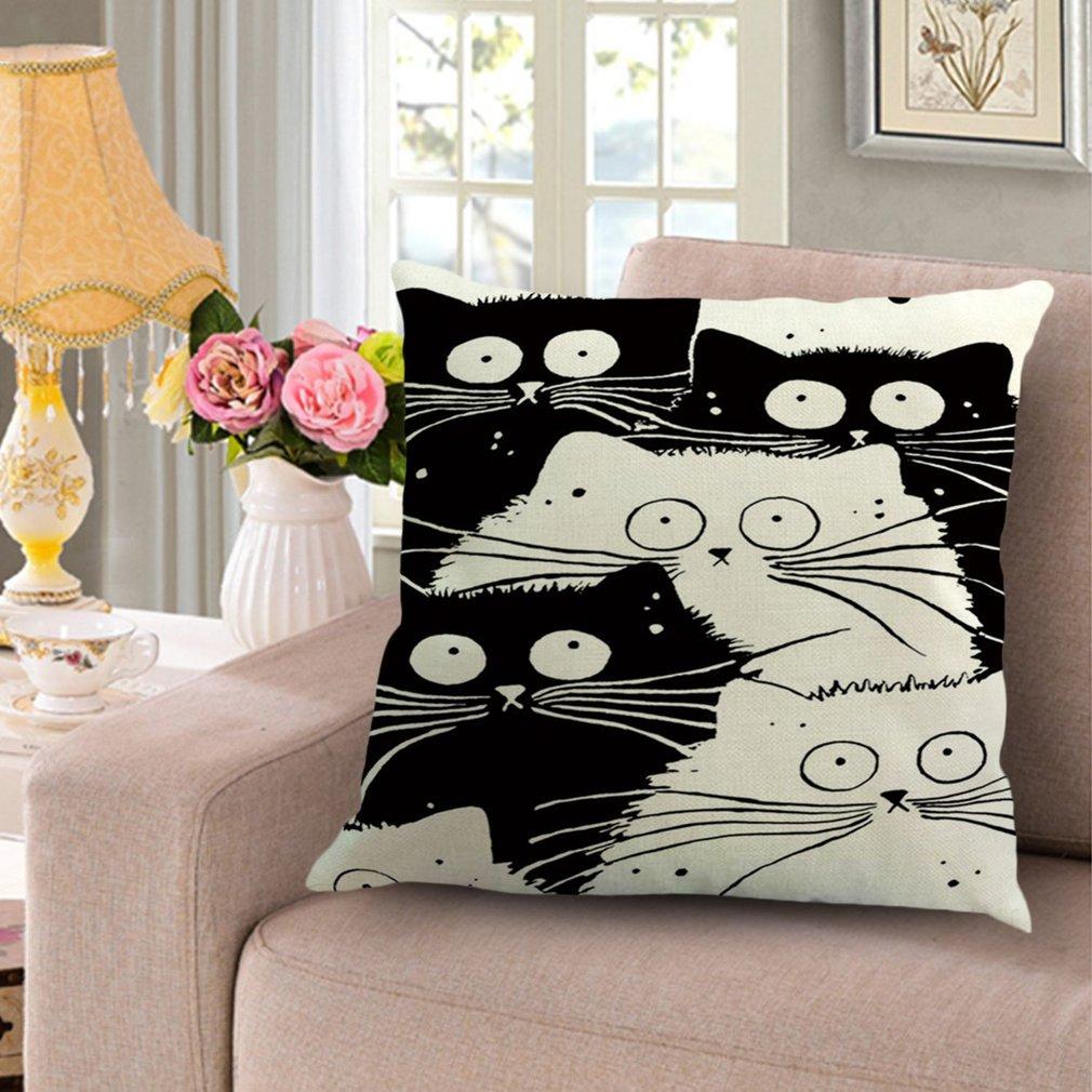 Comfortable Flax Pillow Case Cute Cat Pillowcase Fat Kitty Pillow Cover