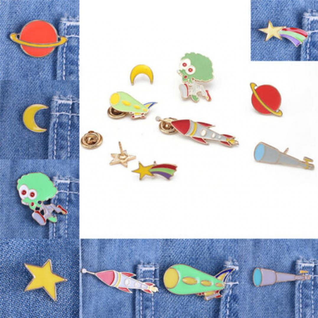Cartoon Enamel Space Badges