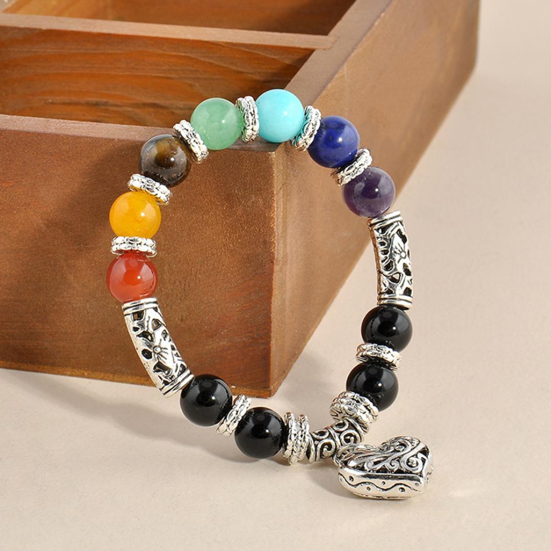 Vintage 7 Chakra Balance Stone Beaded Bracelet Women Heart Charm Bangle Gift