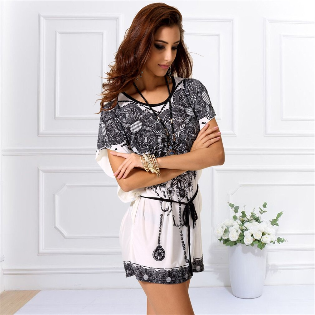 Fashion Women Short Sleeve T-shirts Bohemia Style Comfortable Silk Female Clothing Printed Pattern Round Collar Loose Shirts