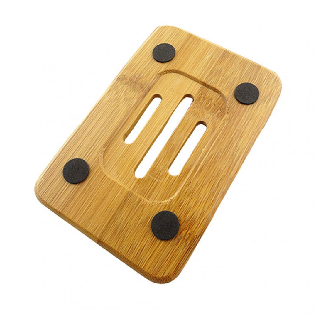 1Pc Natural Bamboo Wood Bathroom Shower Soap Tray Dish Storage Holder Plate