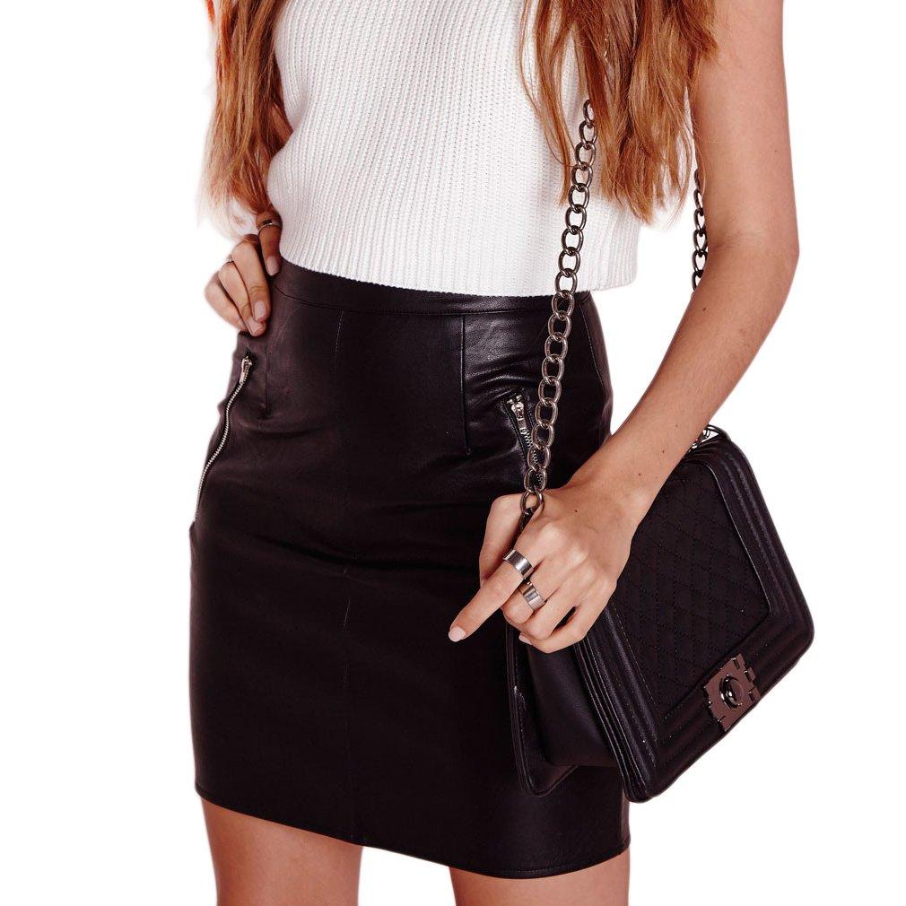 Women's Sexy Zip Detailing PU Leather Skirt, Black