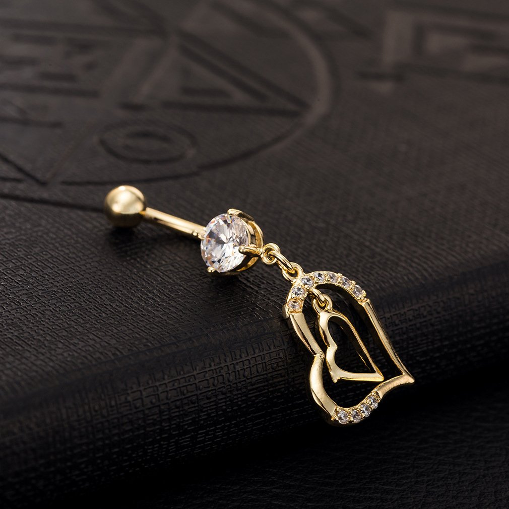 Women's Double Heart Rhinestone Belly Bar Button Jewelry