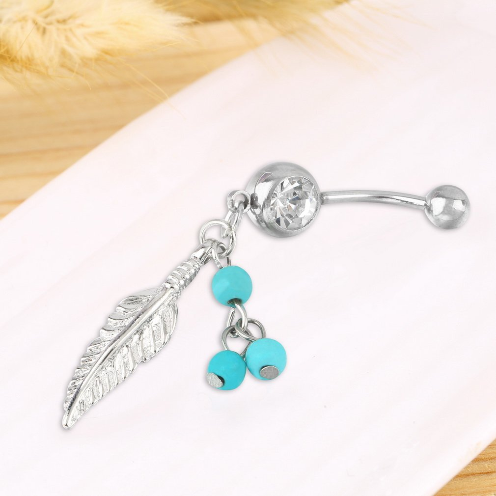 Women's Sparkling Feather Pendant Belly Button Jewelry