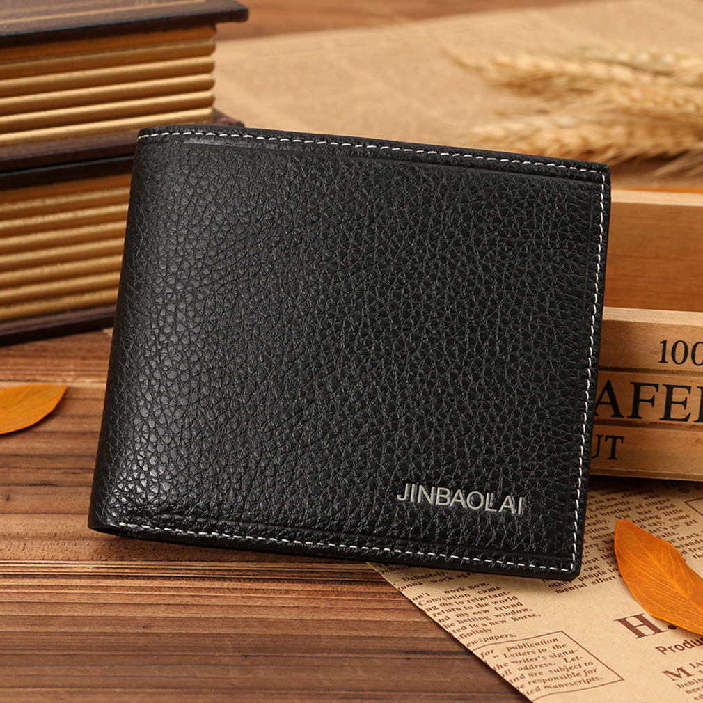 Causal JINBAOLAI Men Solid Color PU Leather Short Business Money Dollar Wallet
