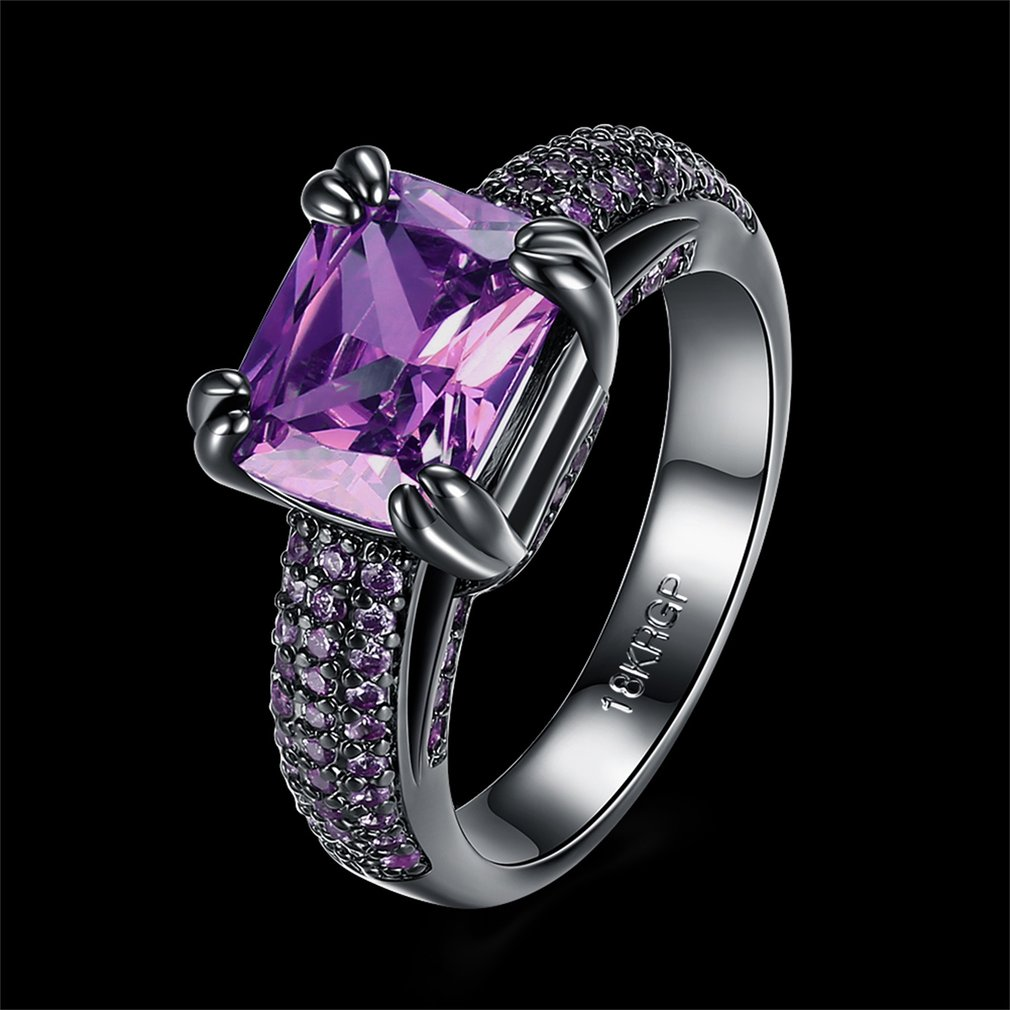 Women's Big Purple Square Zircon Ring