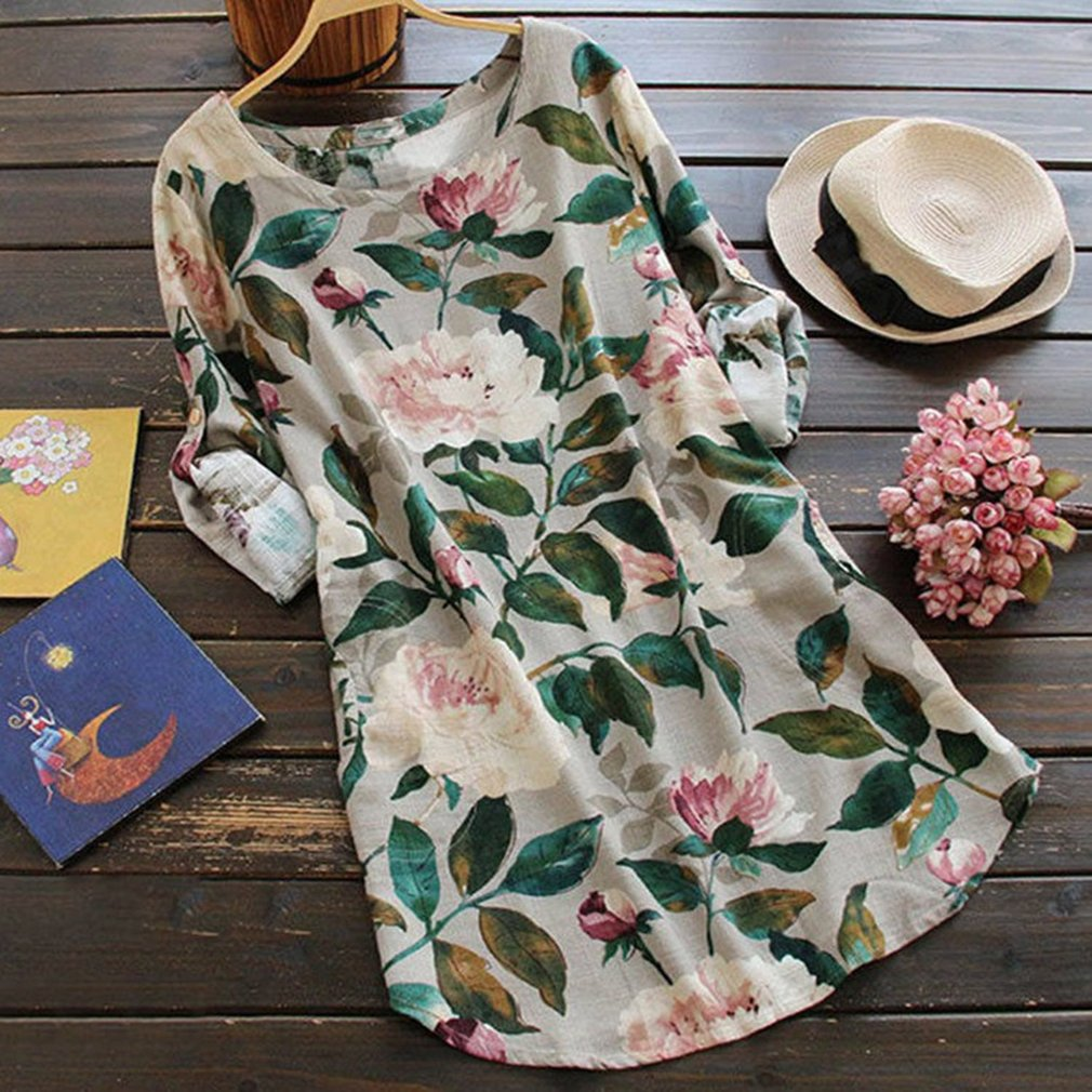 Fashion Bohemia Style Sweet Girls Vintage Dress Printed Round Collar Long Sleeved Loose Shirt Lady Dress Casual Daily Wear