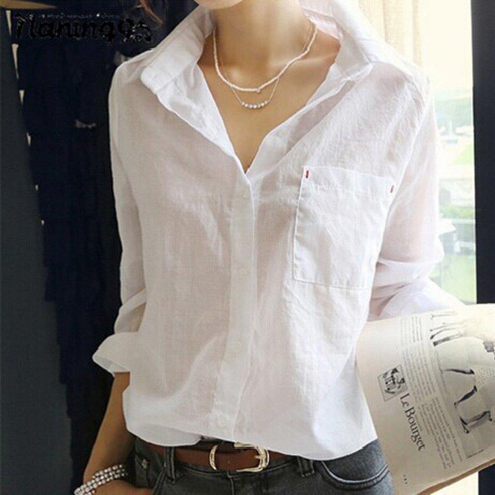 Fashion Women's Summer Casual Shirt Long Sleeve White Loose Tops Blouse