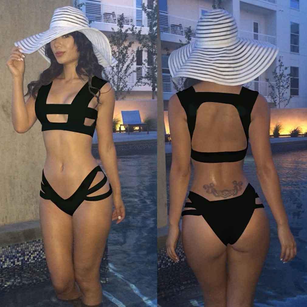 Sexy Women Swimsuit Cut Out Shoulder Strappy String Bandage Bikini