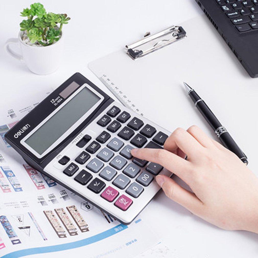 Dual Power Deli 1654 Desktop Calculator 12 Digits Dedicated Financial Device