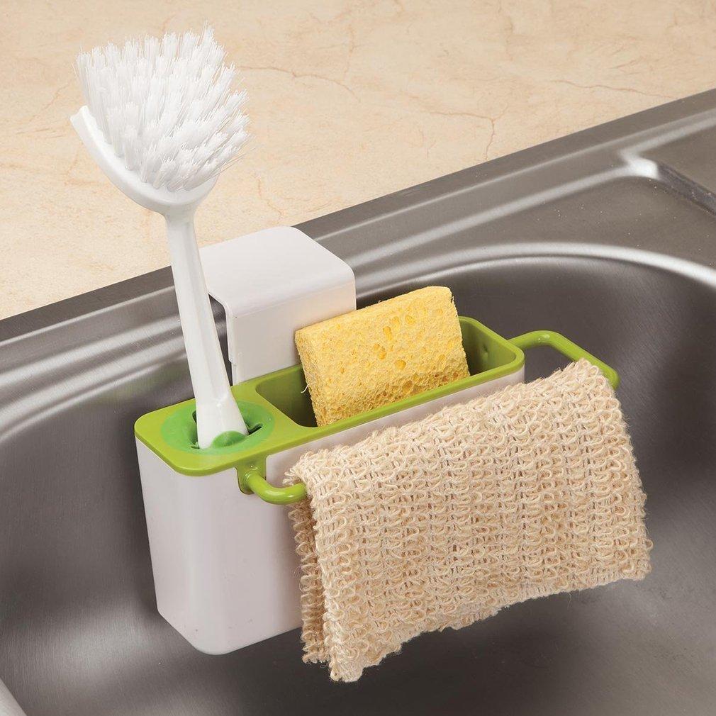 Kitchen Storage Organizer Rack Soap Sponge Brush Holder Sink Caddy Cabinet