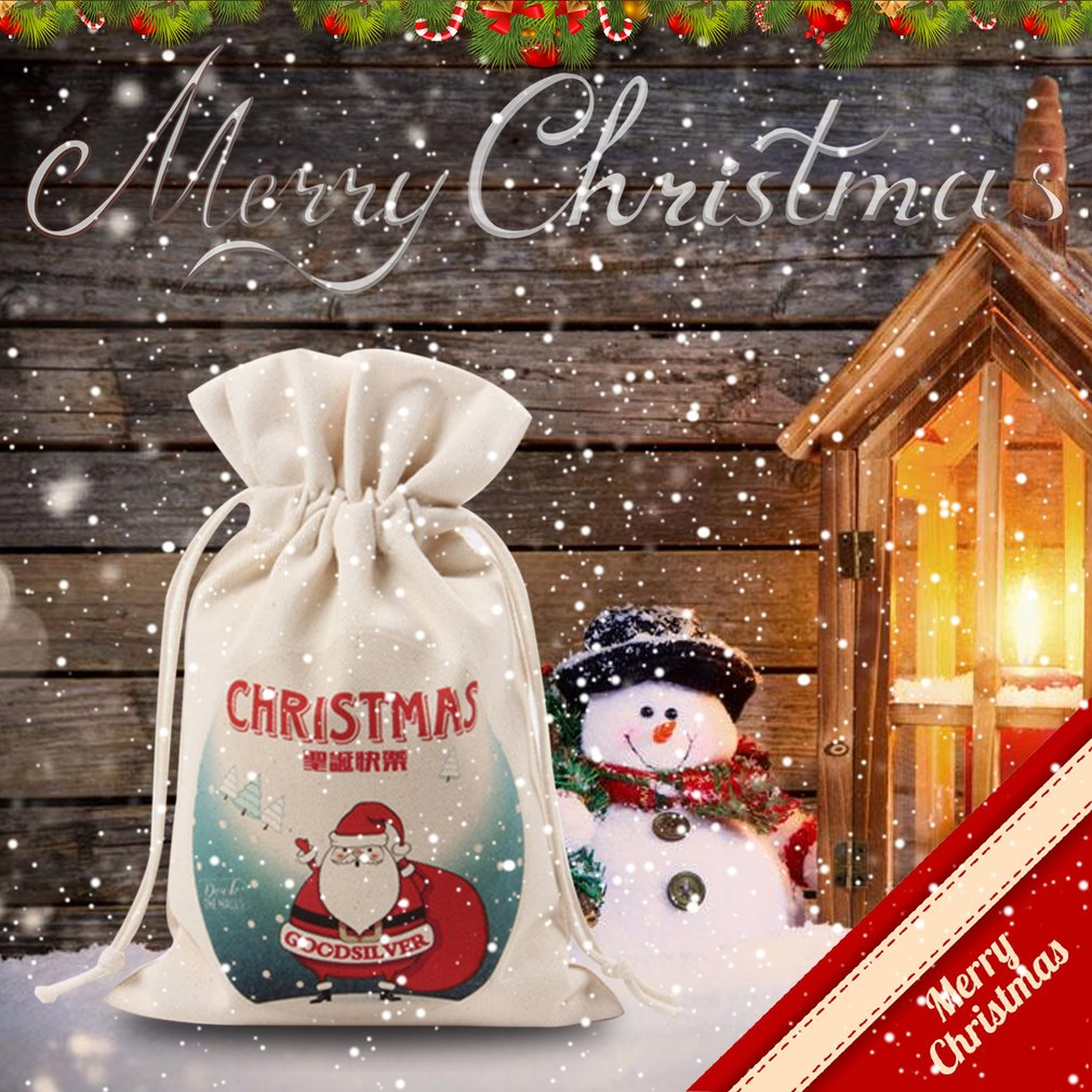 Unique Large Christmas Gift Bag Home Party Vintage Drawstring Canvas Gift Bag
