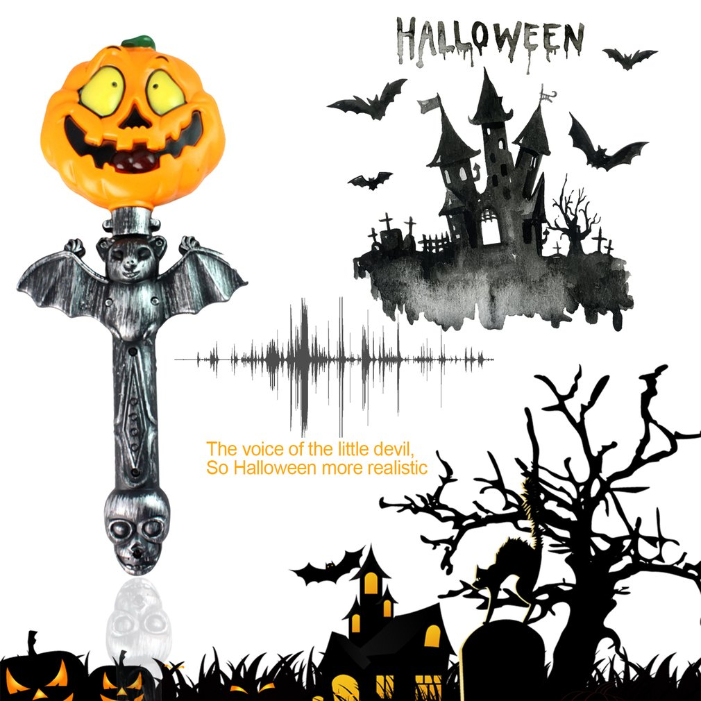 Funny Horrible Battery Operated Handheld Light Up Pumpkin Stick Wand Sticks