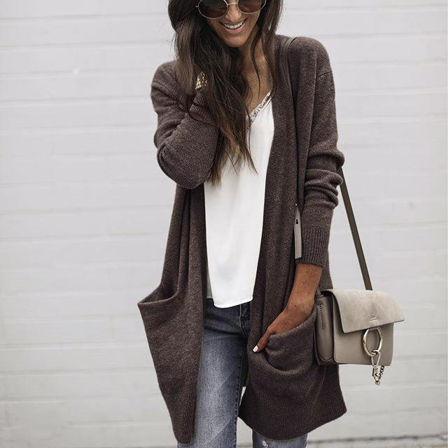 Fashion Casual Pure Color Baggy Knit Cardigan Blouse Medium Length Jacket Coat