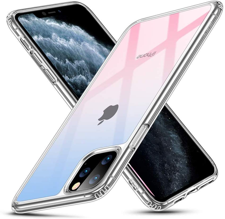 Ehawks Designed for iPhone 11 Pro Max Case, 9H Tempered Glass Back Cover with TPU Frame Scratch-Resistant Soft Bumper Shock Absorption Protective Case for iPhone 11 Pro Max 2019, Clear