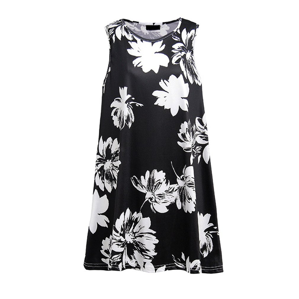 Summer Women Dress Floral Printing Sleeveless Round Collar Fashion Trendy Sexy Vest Dress Loose Casual A-line Dress
