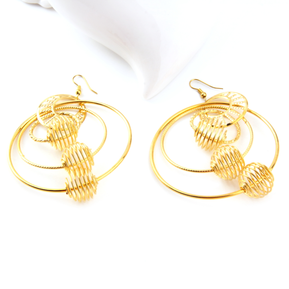 Fashion Punk Vintage Gold Multi-turn Metal Spherical Geometry Dangle Earrings