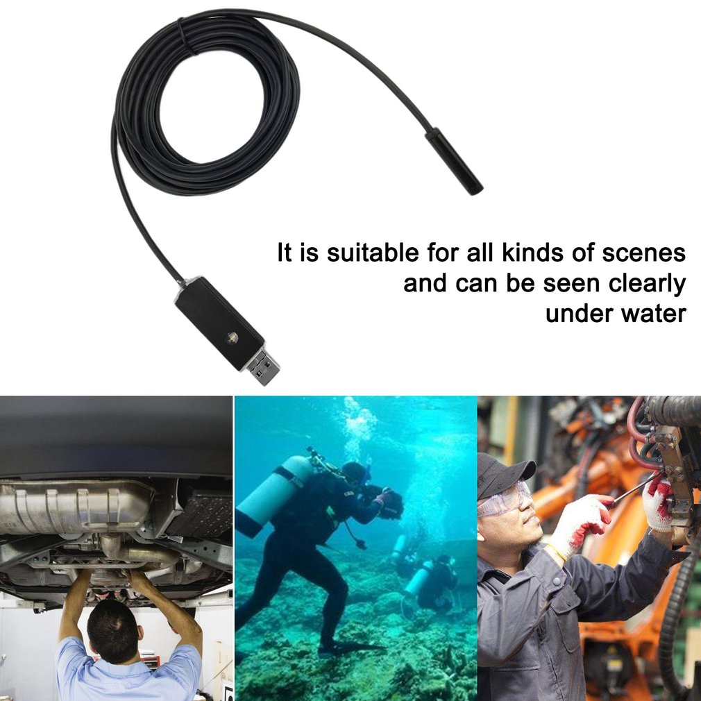 2IN1 Taking Photo Available LED Lamp Adjustable 7mm Lens USB Endoscope