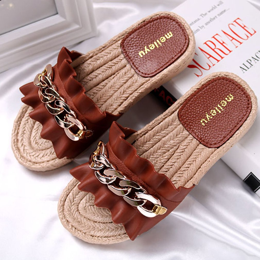 Women Summer Slippers Fashion Wrinkle Decoration Non-slip Slippers With Chain