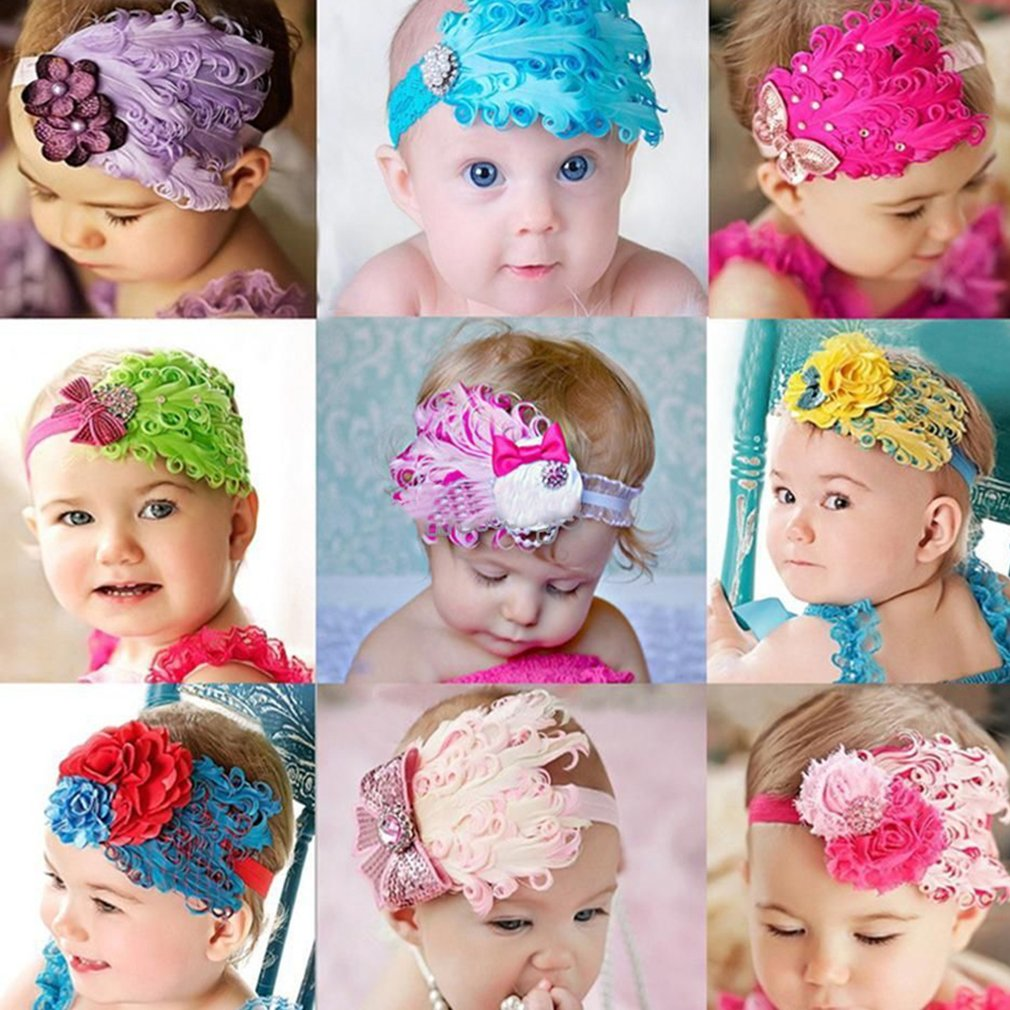 Baby Headdress Flower HeadBand Peacock Feather Flower Hair Band Headband