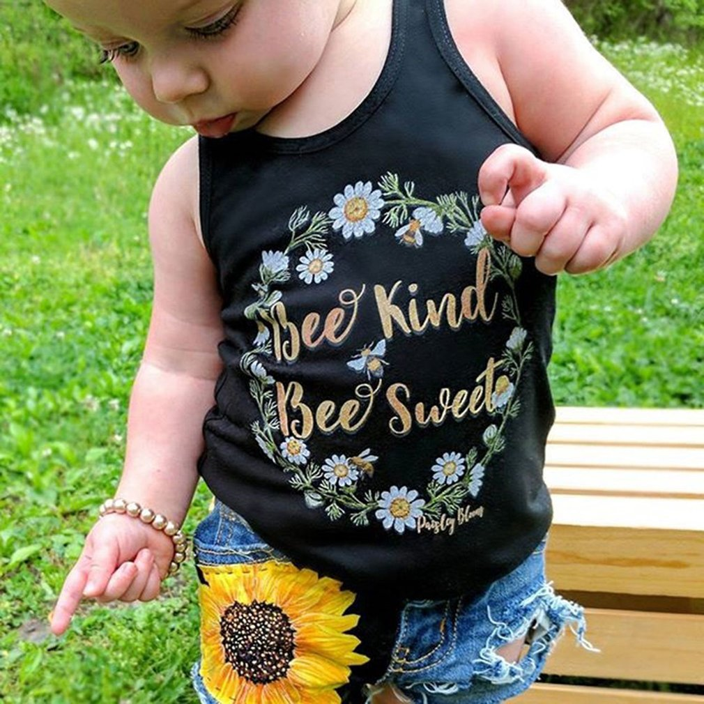 Summer Sleeveless Vest Tops + Jeans Shorts Boys Girls Clothing Set Cotton Suit