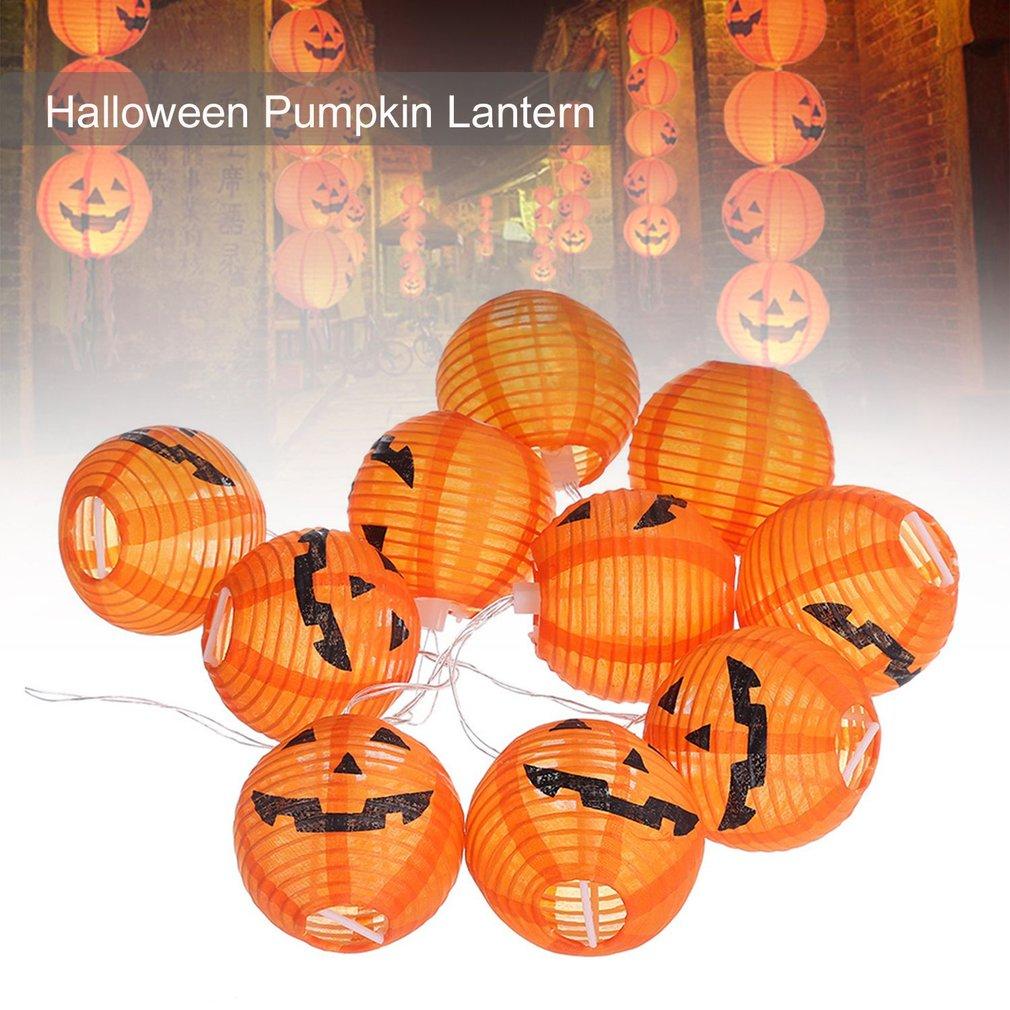 10LEDs Hanging Halloween Pumpkin Lantern 3D Plastic Skull String Light BZ530