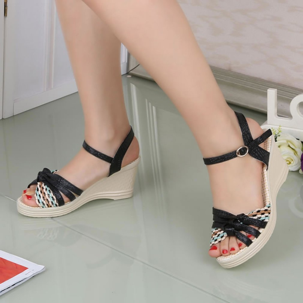 Fashion Summer Sandals Slipsole Ankle Strap Women Platform Shoes Casual Wear All-match Style Party Outdoor High-heeled Shoes