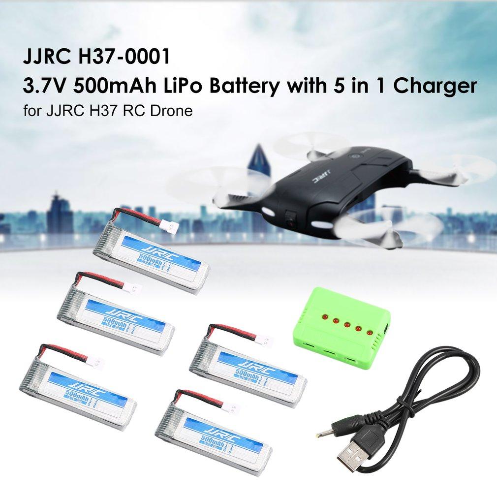 Original JJR/C 5Pcs3.7V 500mAh Lipo Battery USB Charger for H37 D5 RC Drone