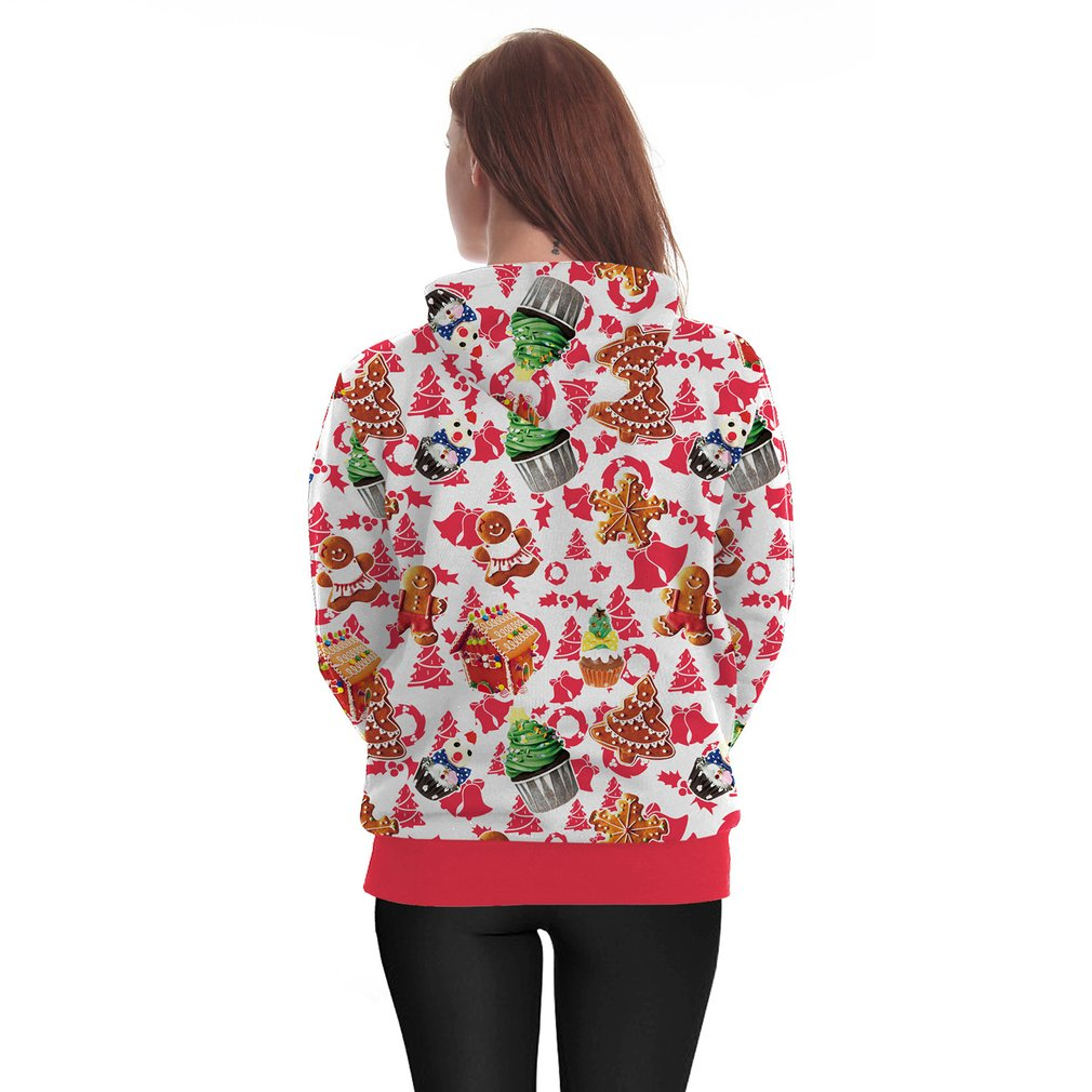 Christmas Theme Printing Female Loose Long-sleeved Pullover Hoodies Coat
