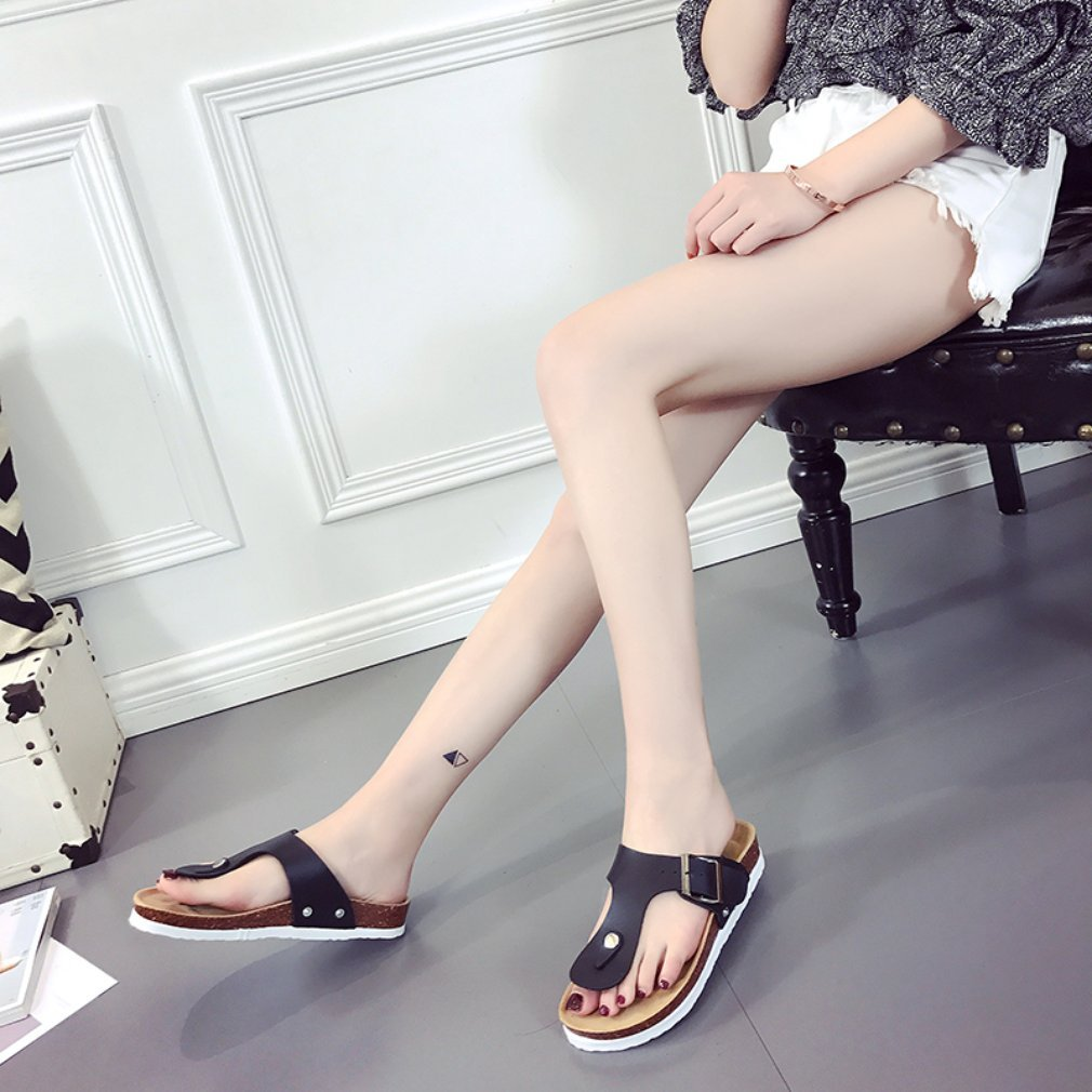 Casual Design Women PU Leather Slippers Summer Beach Wear Ladies All Match Clothes Non-Slip Footwear Slippers Shoes