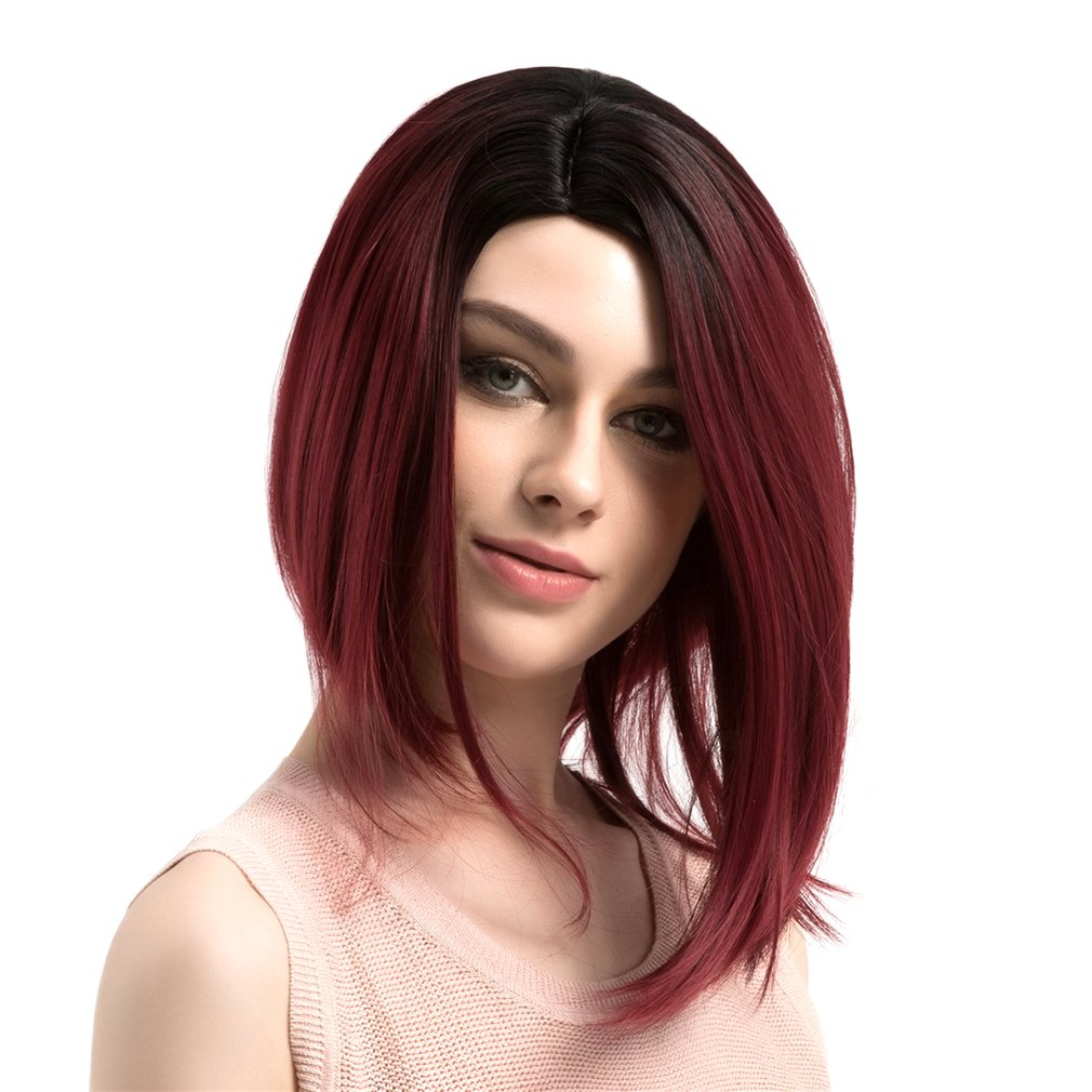 Black Red Heat Resistant Synthetic Hair Straight Short BOB Wig for Lady