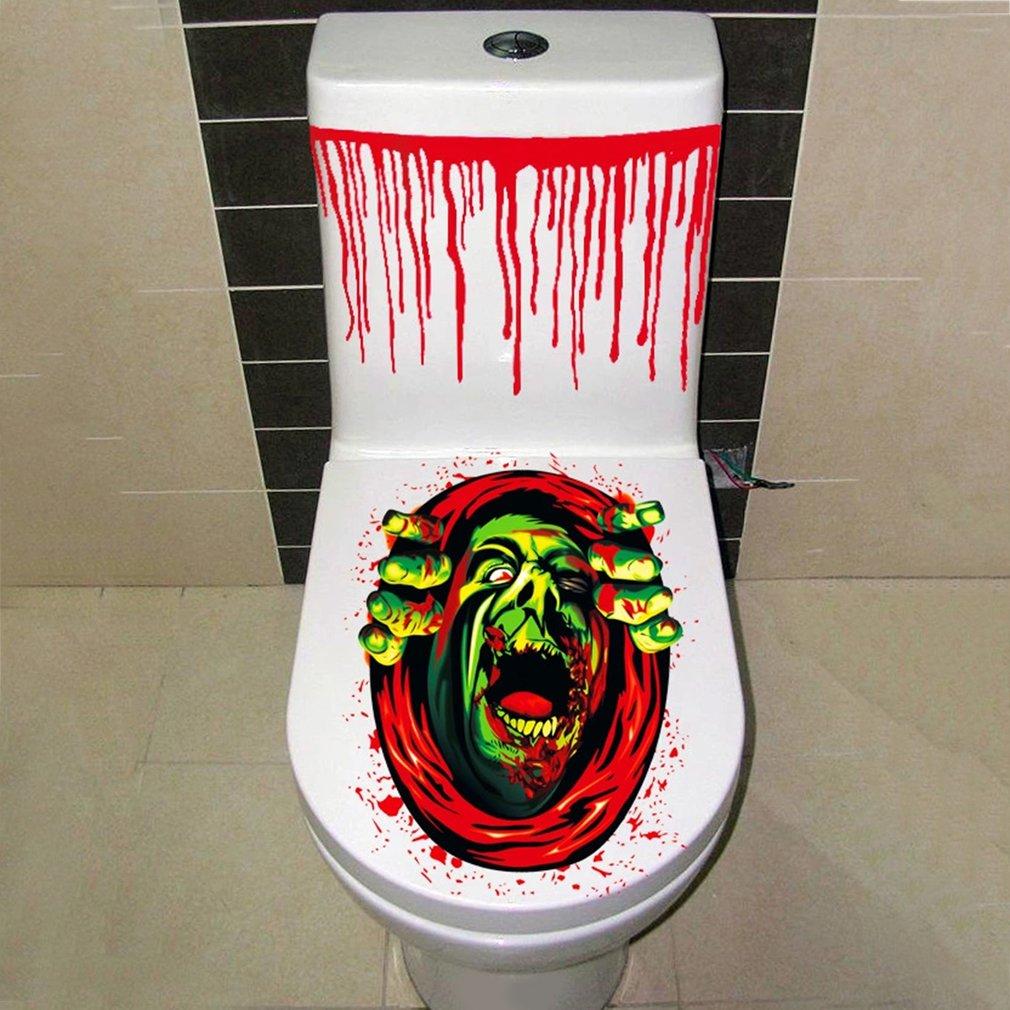 Halloween Scary Toilet Seat Decoration Toilet Sticker Horror Party Decoration