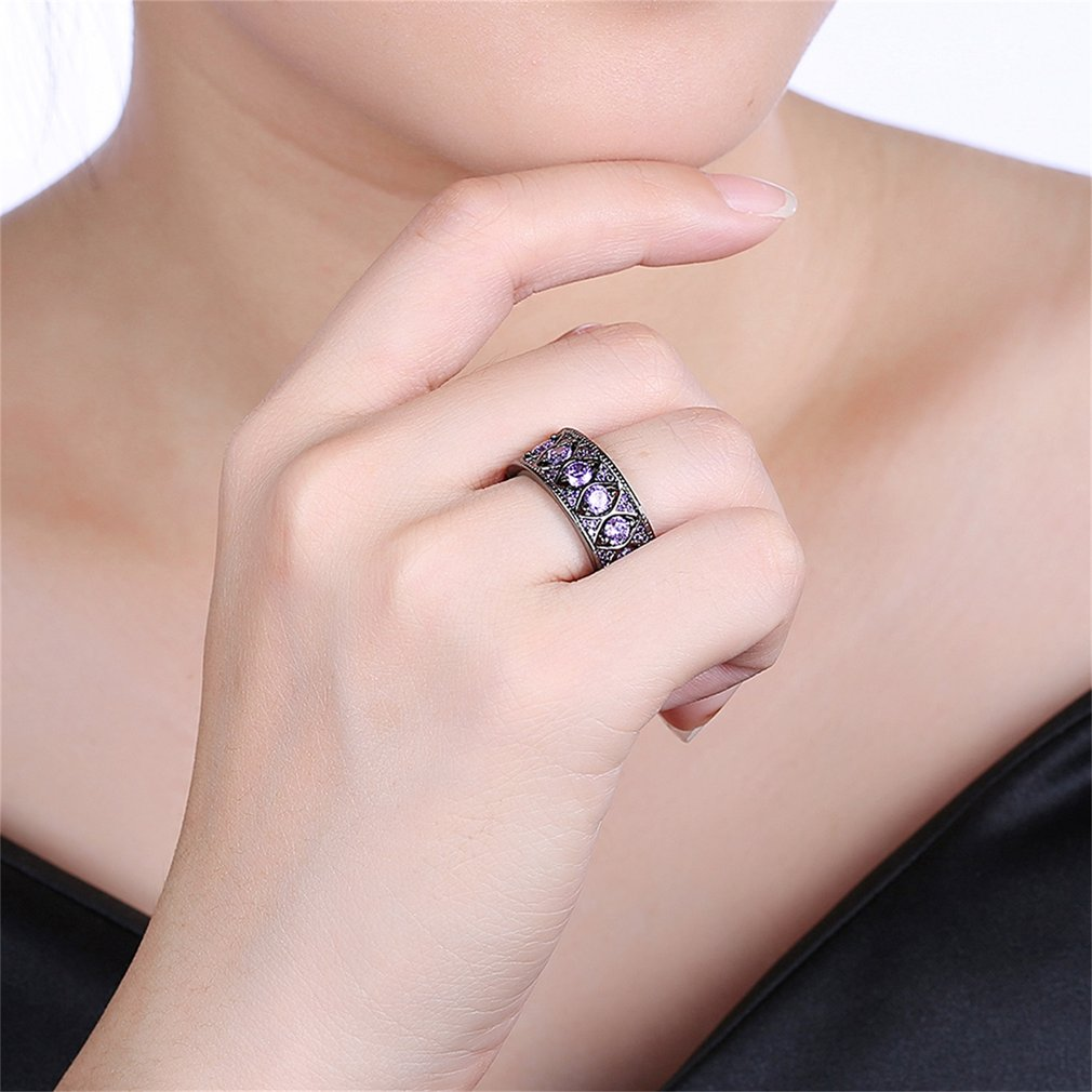 Men Purple Zircon Surround Rings Party Wedding Engagement Copper Finger Ring Jewelry for Male Best Birthday Gift
