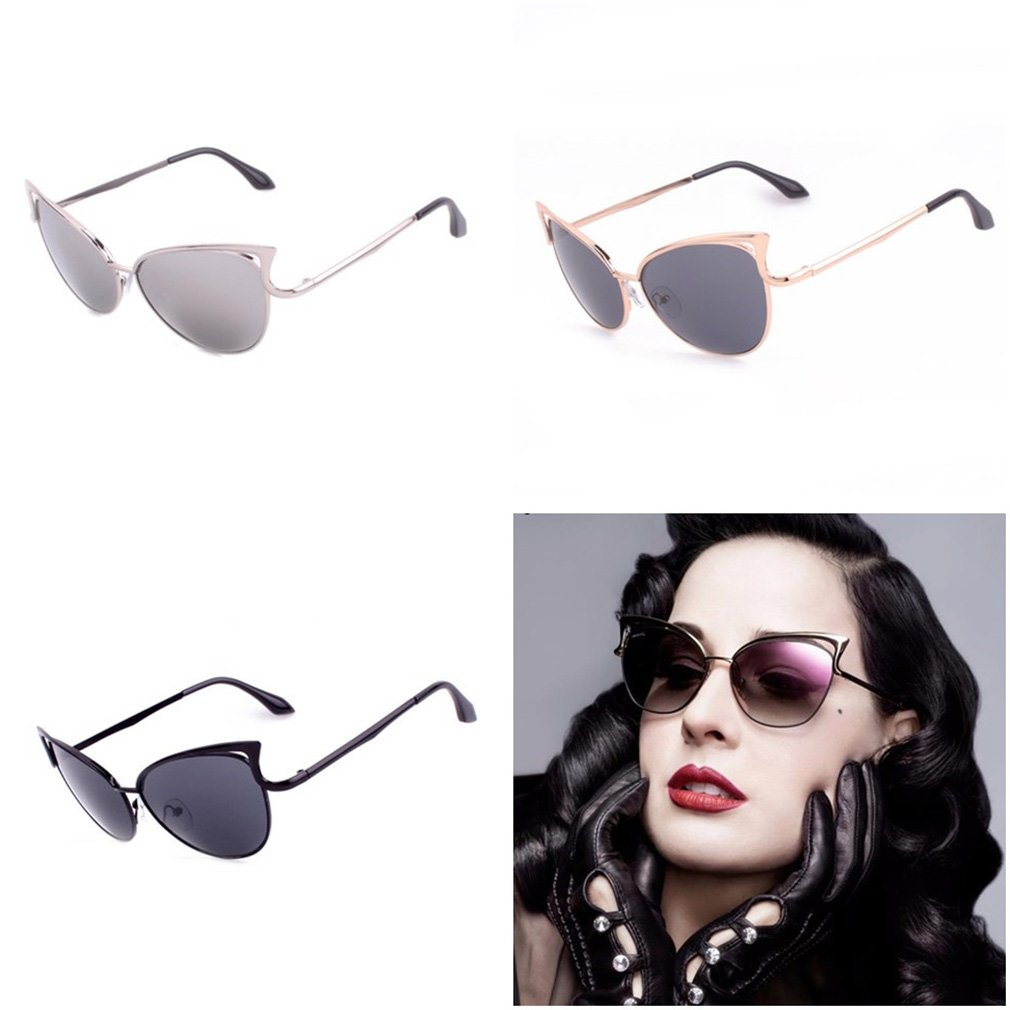 Women Lady Cat Eye Retro Vintage Metal Frame Sunglasses UV Eye Protect