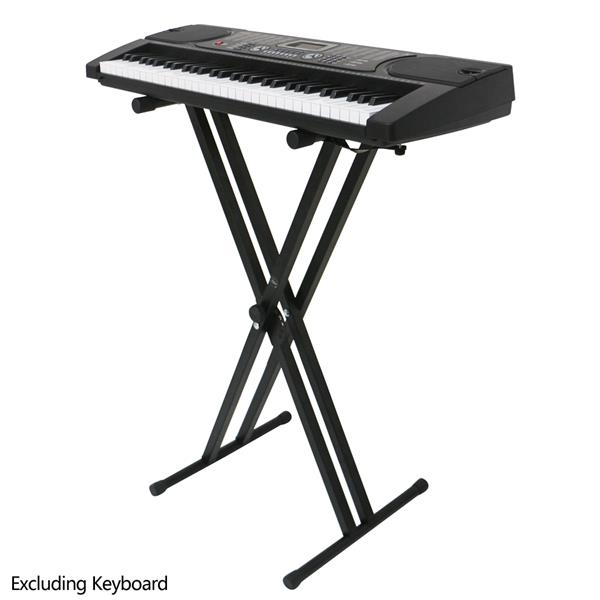Glarry Dual-tube X-Shape Keyboard Stand Black