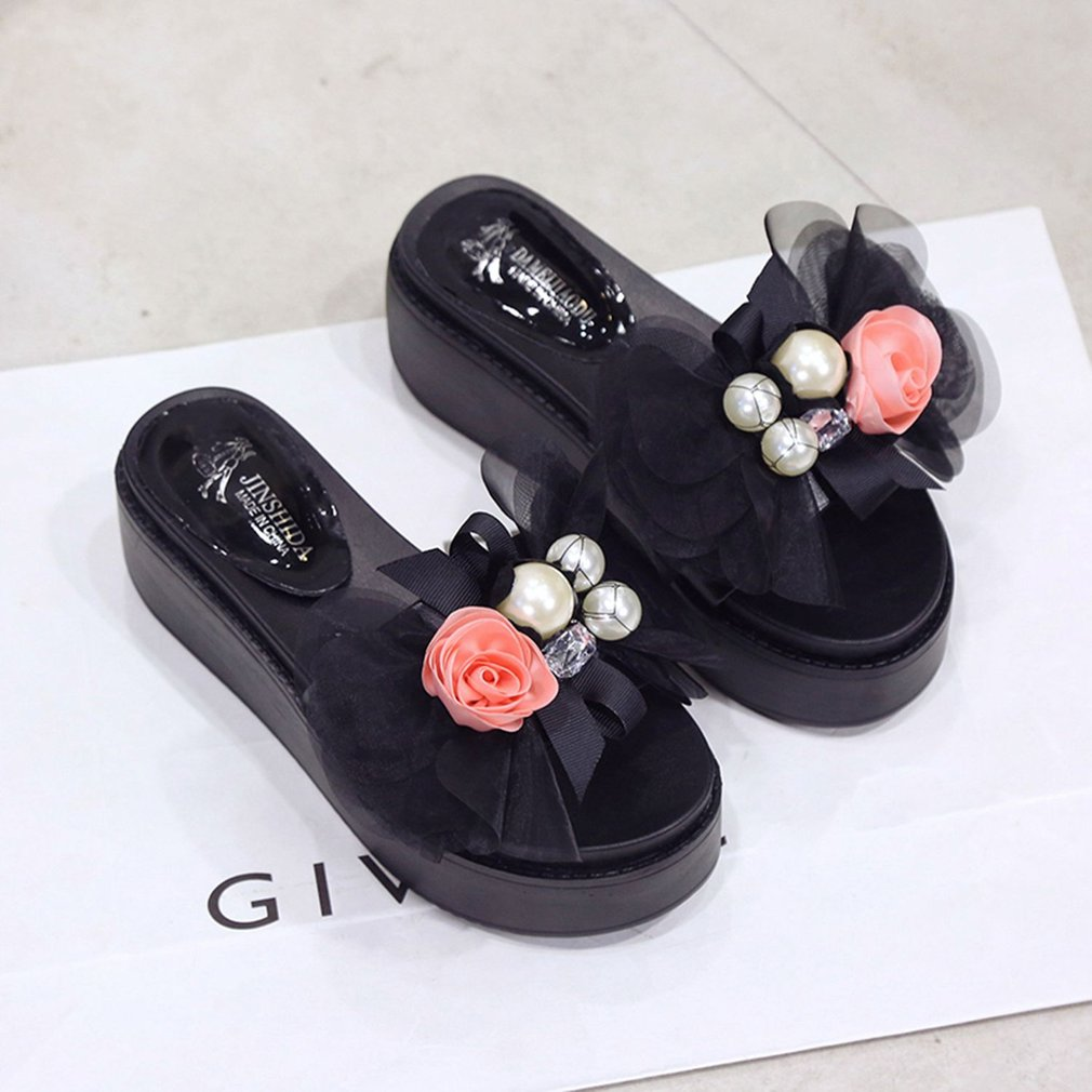 Thick Muffin Sole Slippers with Bow Tie Anti-skid Fashion Summer Slippers