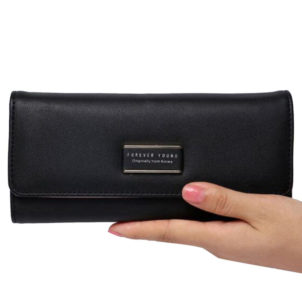 Women's PU Leather Tri-Fold Wallet, Black - Large Capacity