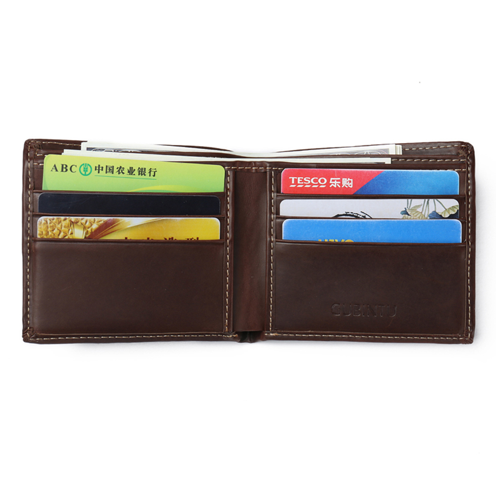 New Rough Vintage GUBINTU Anti-magnetic Purse Men Wallet Cow Leather Brown