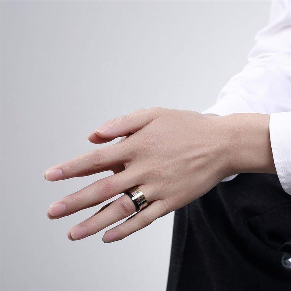 European American Fashion Men Male Titanium Steel Ring Multi-Colors Men Wedding Band Finger Ring Boyfriend Gift