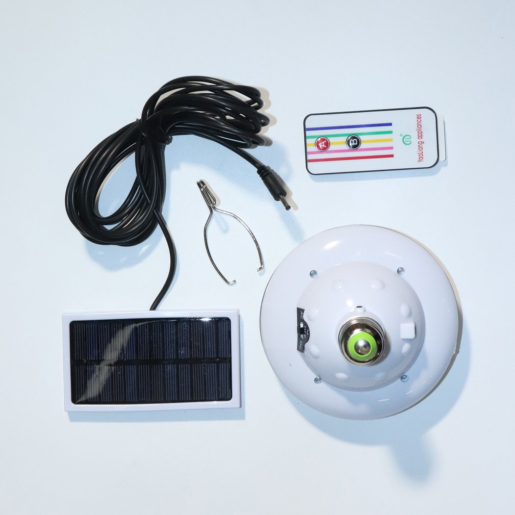 Rechargeable LED Light Bulb Solar Powered Remote Control Emergency Light Lamp