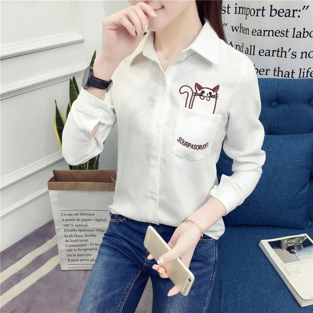 Girls Long Sleeve Thickened Bottoming Shirt with Dogs Pattern Embroidery
