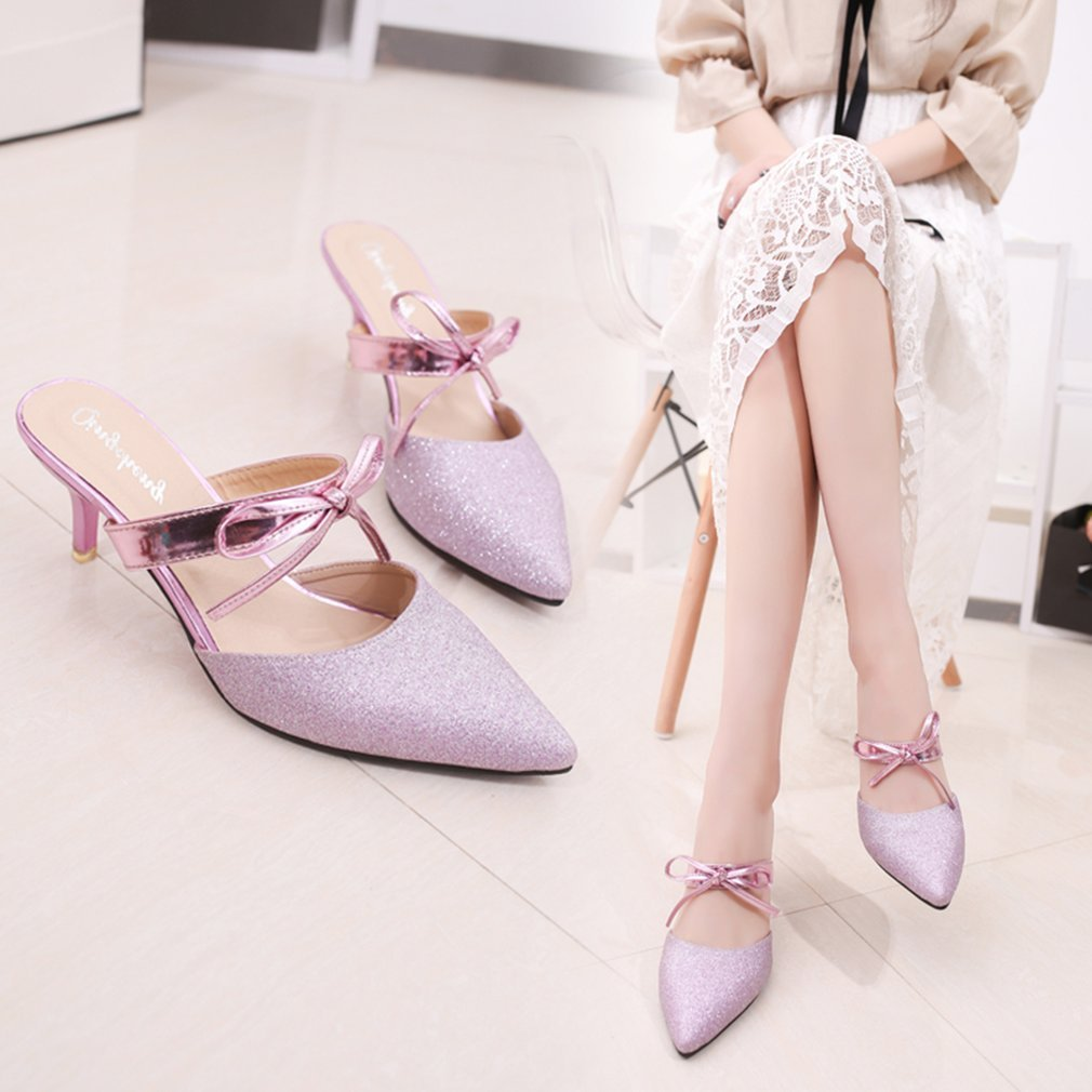 Spring Summer Korean Fashion Women High Thin Heels Slipper All Match Clothes Ladies Pointed Toe Footwear Shoes