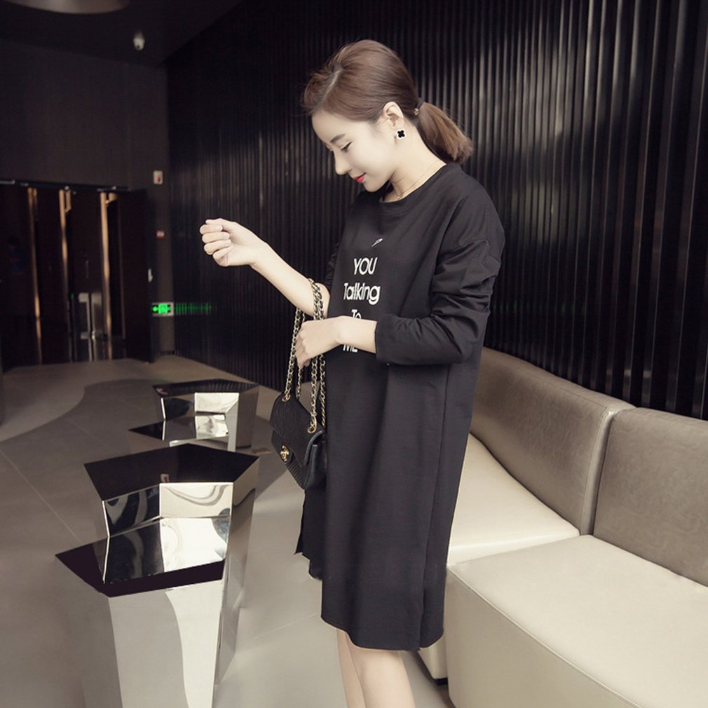 Women Long Section O-neck T-shirt Long-sleeved T-shirt Dress with Letter Print