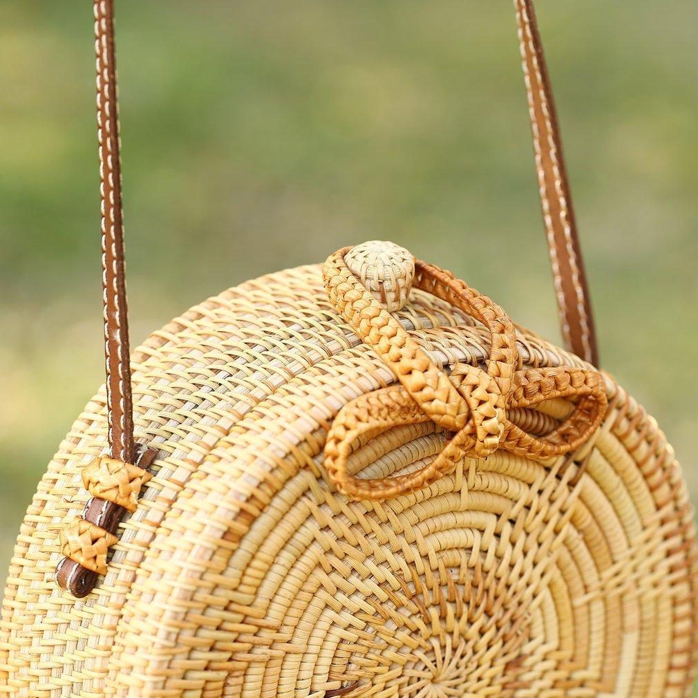 Round Circle Women Bag Star Pattern Bowknot Rattan Straw Handwoven Crossbody Bag Bohemia Style Lady Beach Tote Bag