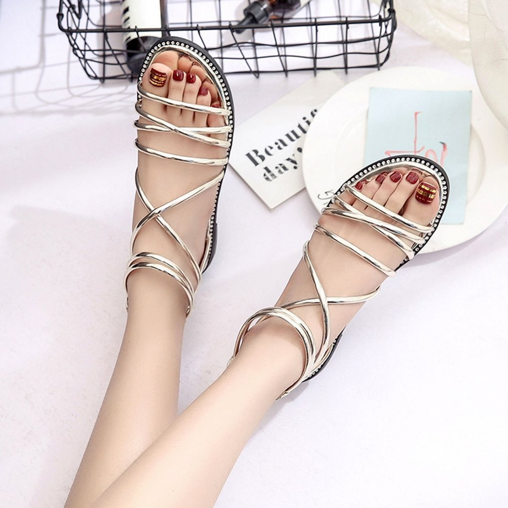 Fashion Bandage Women Summer Sandals Open Toes Back Zipper Students Girls Shoes Comfortable All-match Flat Sole Female Sandals