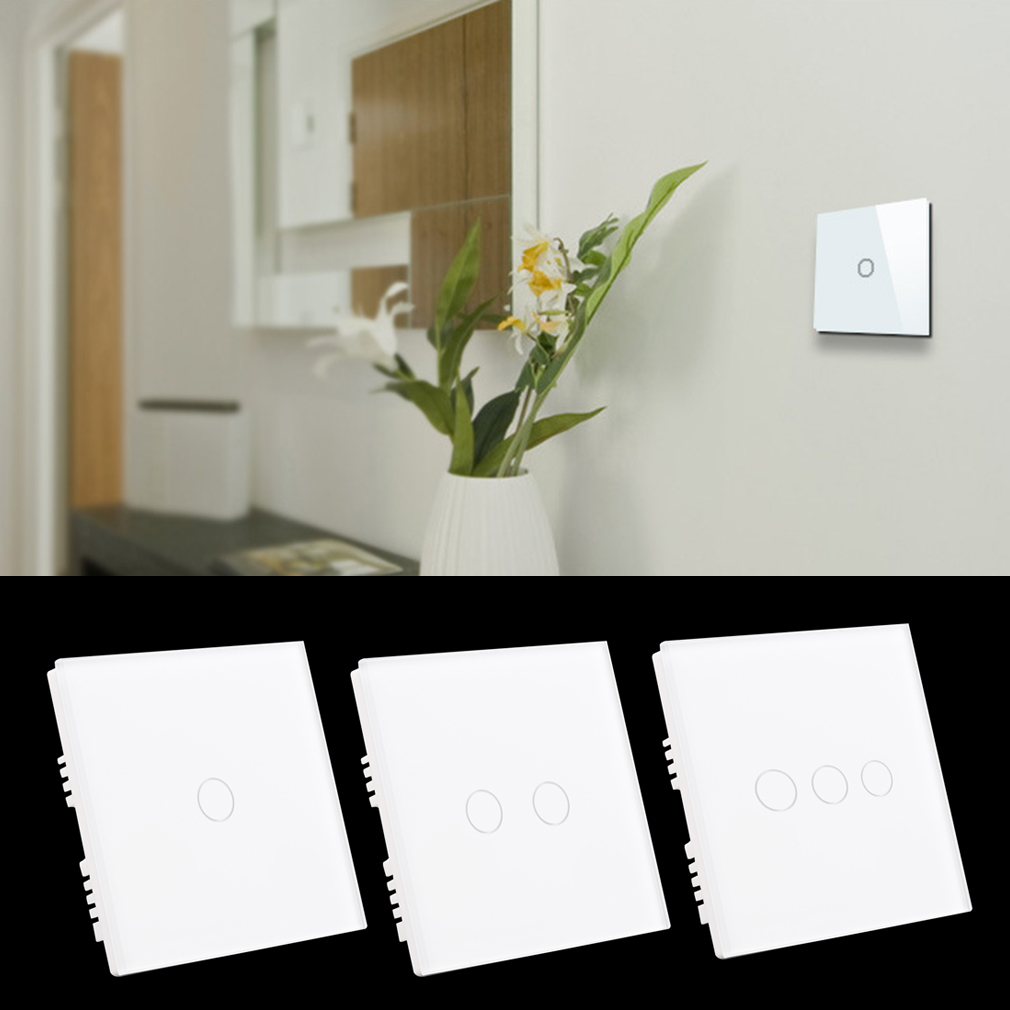 New White 90V~250V Crystal Glass Panel Touch Light 1/2/3 Gang Wall Switch