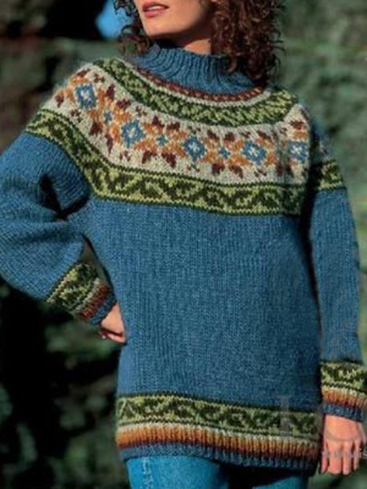 Long Sleeve Color-Block Crew Neck Vintage Sweater