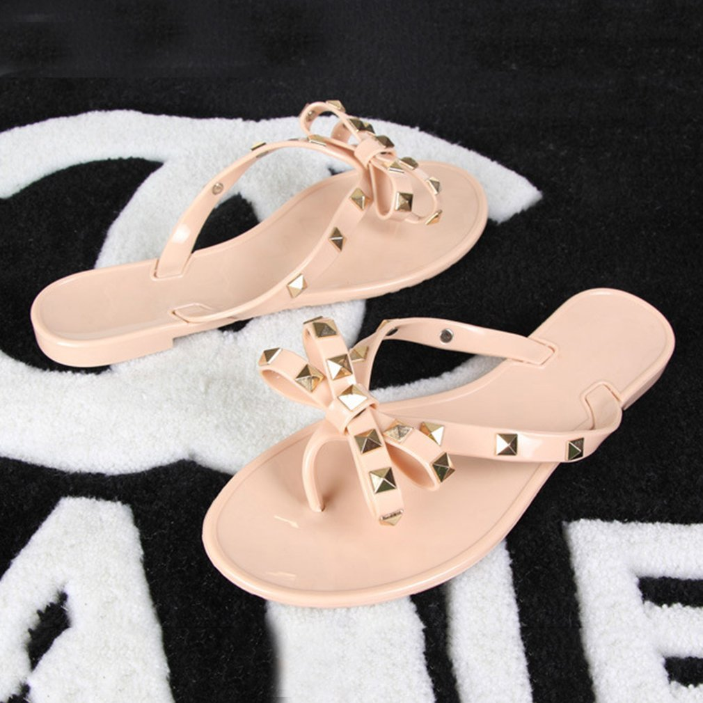 Stylish Women Sandals Rivets Bowknot Flat Slippers Girls Flip Flops Elegant Summer Shoes Cool Beach Jelly Shoes