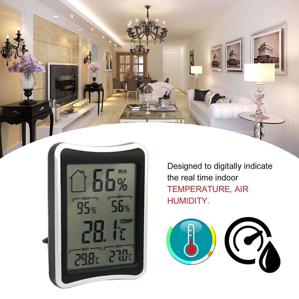Digital LCD Weather Thermometer Hygrometer Humidity Temperature Meter Indoor